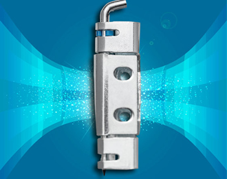 Secured hinge pin on surface mounted 120° door hinge