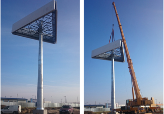 Rolled steel helps to erect giant retail sign in Hungary