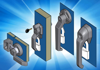 Specialist enclosure locks, handles, hinges and gasket for HVAC panels