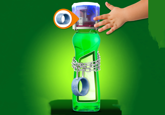 With plain bearing cleaning agent safely locked in child safety device