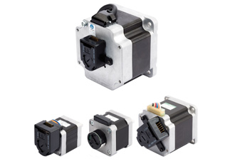 Stepper motors with integrated optical encoders