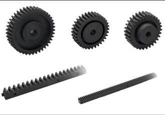 Rack and spur gear transmission elements for mechanical resistance