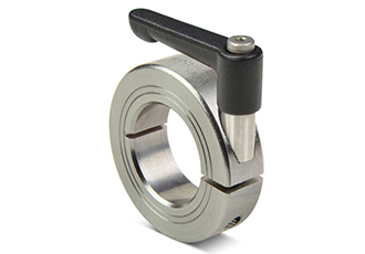 Quick clamping shaft collars with clamping lever