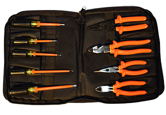 Electrician's tool kit with double-insulated hand tools