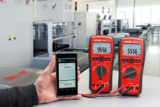 Handheld multimeter shares data via free app
