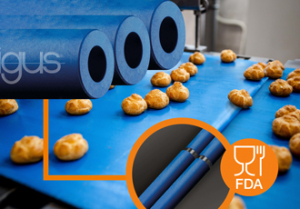 The need for speed: blue FDA compliant knife edge rollers
